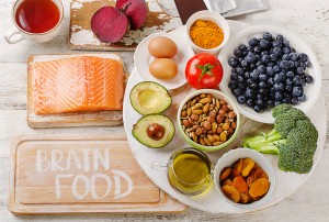 Good Foods for brain. Healthy eating Concept. Top view